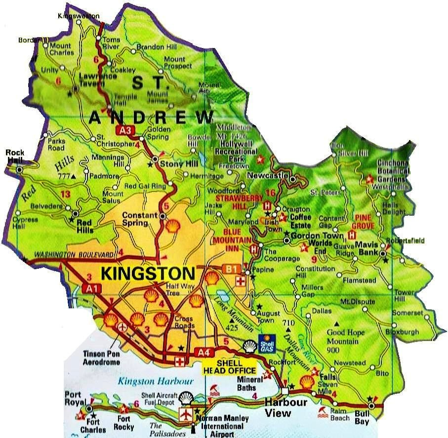 Road map for Kingston Jamaica JamaicaJamaica