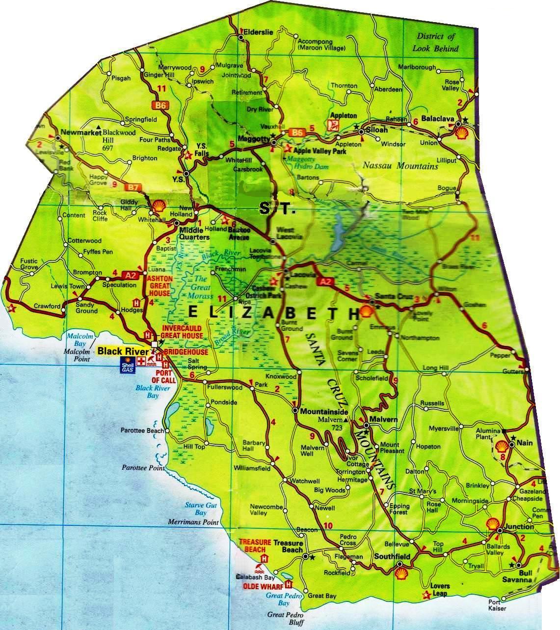 Road map for St Elizabeth Jamaica JamaicaJamaica